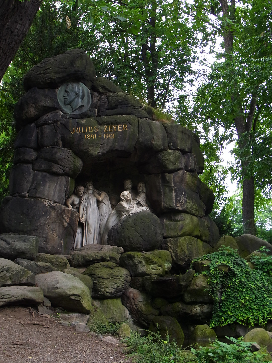 Monument to Julius Zeyer, 1841-1901, Czech writer, playwright and Romantic poet, 1931, by Josef Mauder, in Chotkovy Sady or the Chotek Gardens