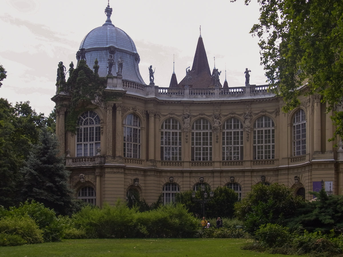Vajdahunyad Castle in City Park, Budapest from the front