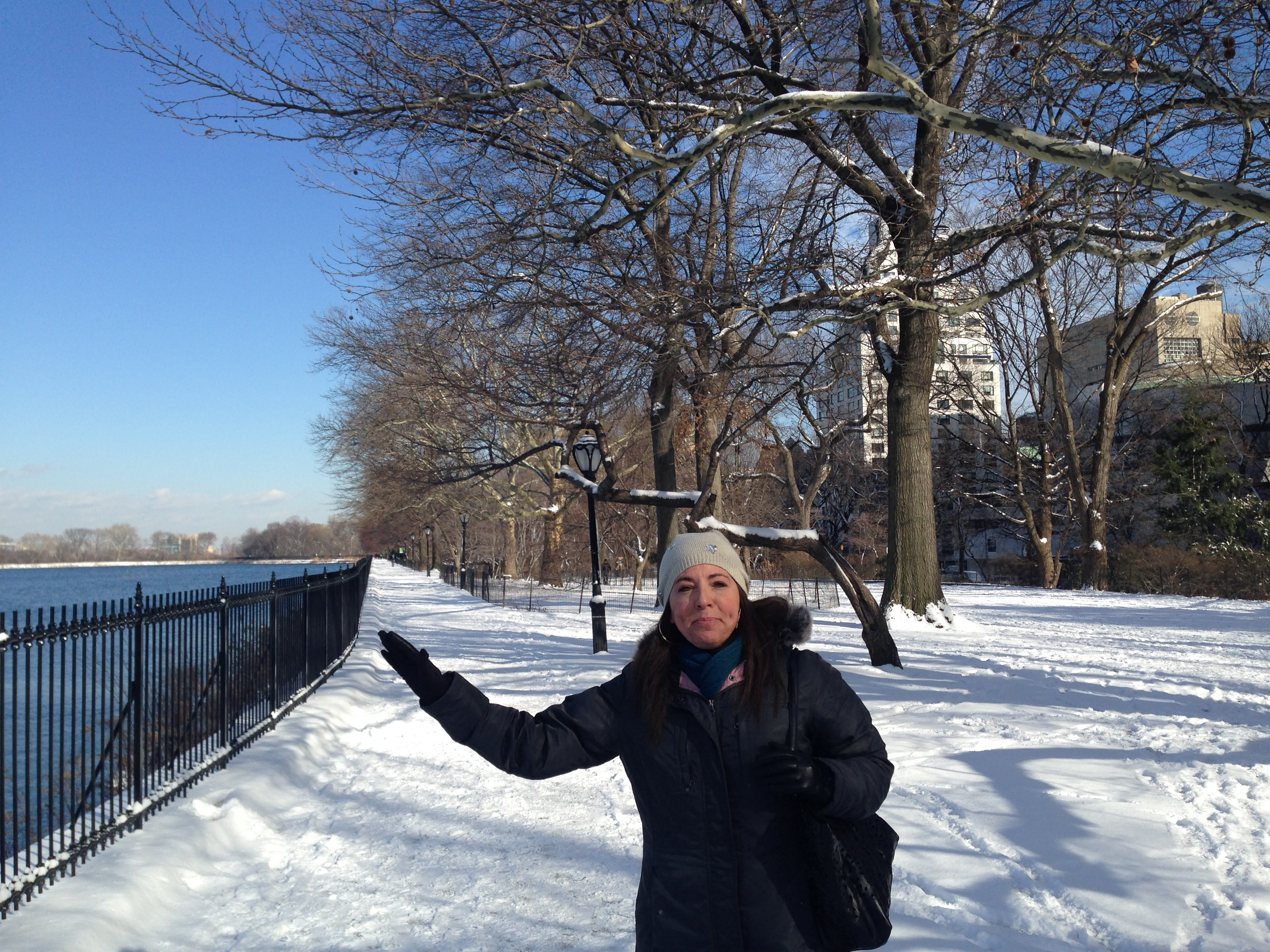 My lovely friend and host Nadine showing off Central Park in the snow